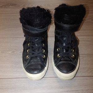 Converse faux fur leather hightop sneakers